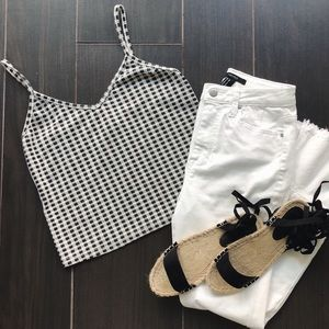 Topshop Gingham Cropped Tank Top